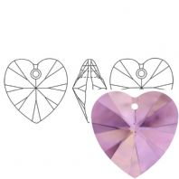 Light Amethyst 6228 Swarovski Crystal Heart Pendant 18mm PK1